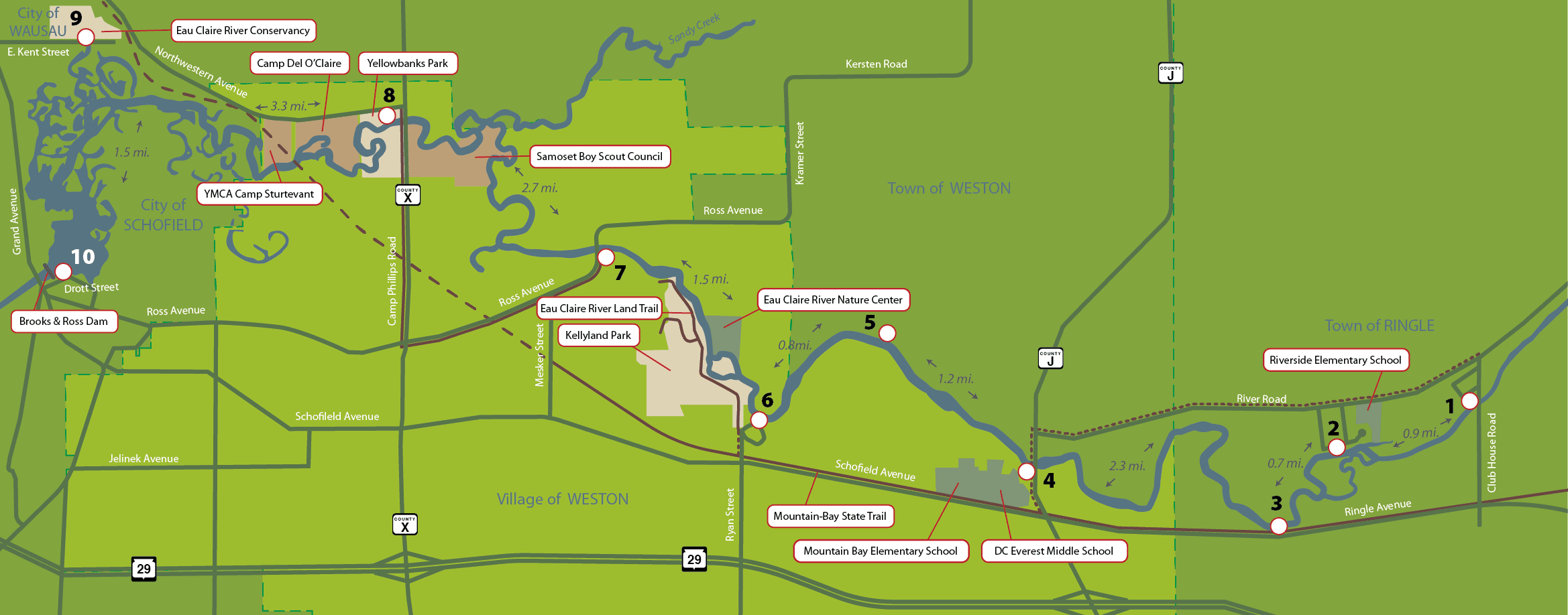 Eau Claire River Map