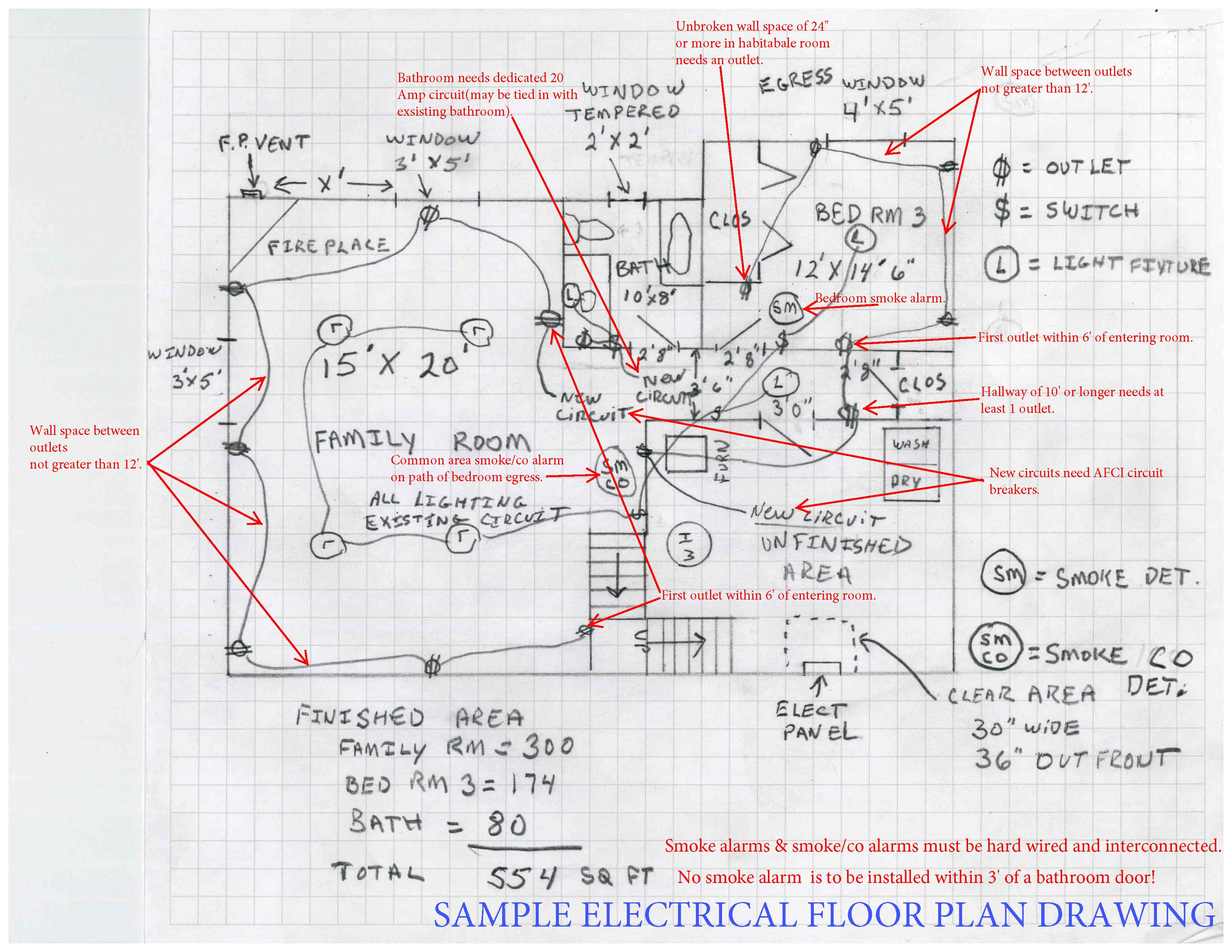 Sample electrical floor plan